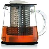 Finum TEA CONTROL Teekanne aus Glas mit patentierter Brühkontrolle - Teebereiter mit Dauerfilter - Teezubereiter 0,4 Liter - Glaskanne für Tee, Schwarz