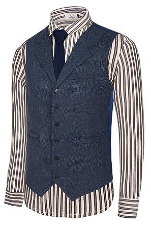 a49b942065 Hanayome Men's Slim Fit Classic Tweed Suits Vest Premium Wool Blend  Waistcoat(SI166/S