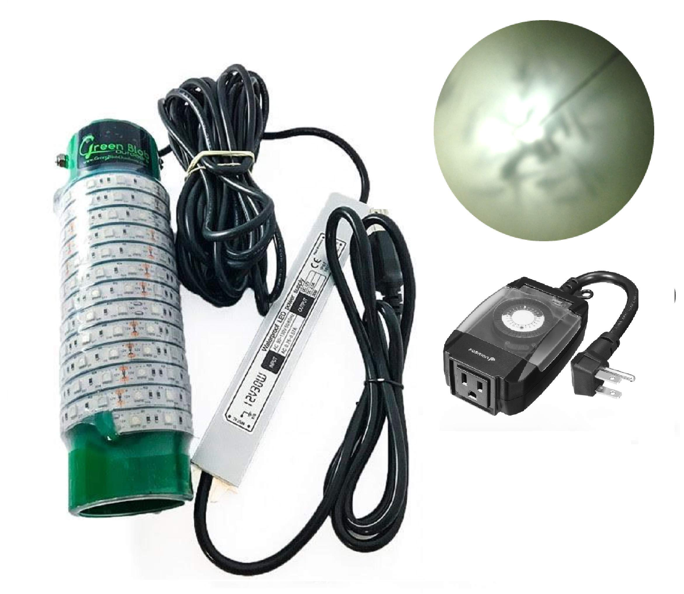 (Green, Blue, or White) Blob Underwater LED Night Fishing Light DOCK-7500 110volt AC (with Timer) 30ft Cord Fish Finding System, Bait rig, Fish Attractor, Ponds, Snook (White with Timer)