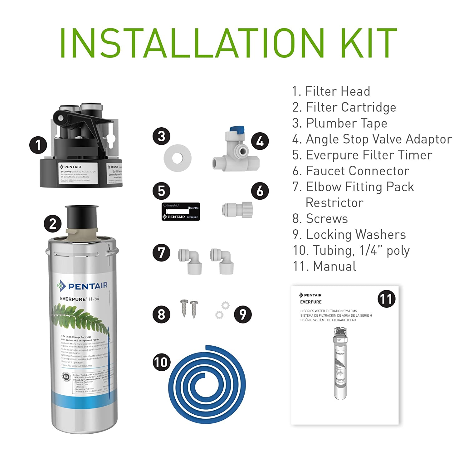 Amazon.com: Everpure H-54 Drinking Water Filter System (EV9252-67). Quick  Change Cartridge System. Commercial Grade Water Filtration and Lead  Reduction: ...