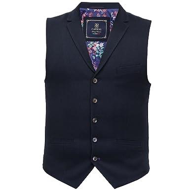 53a03b6c78a Mens Waistcoat Marc Darcy Vest Formal Herringbone Tweed Velvet Collar Check  New JODX7