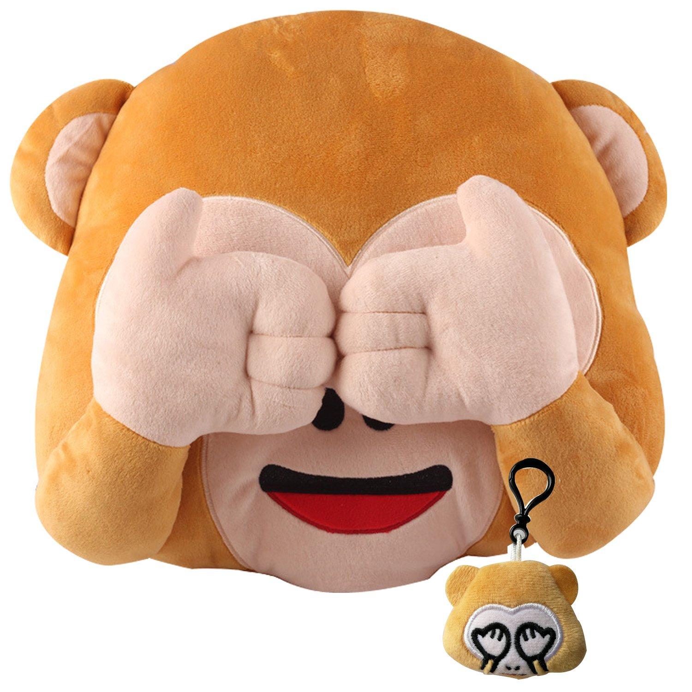 Wemi New No Speaking No Looking No Listening Emoji Monkey Pillow Cushion Stuffed Monkey Plush Toys