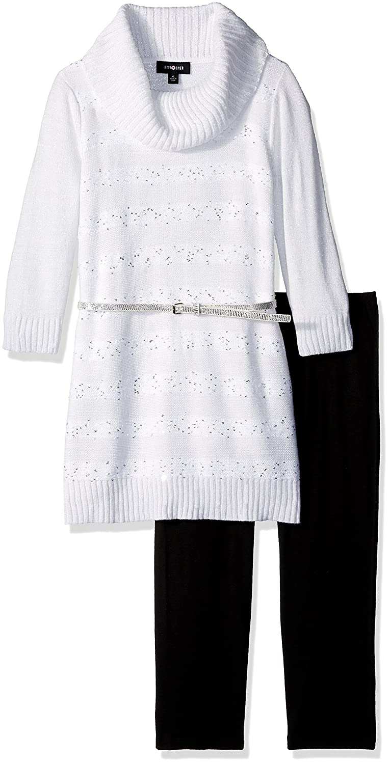 Amy Byer Girls Big 3//4 Sleeve Sequin Stripe Cowl Tunic with Legging
