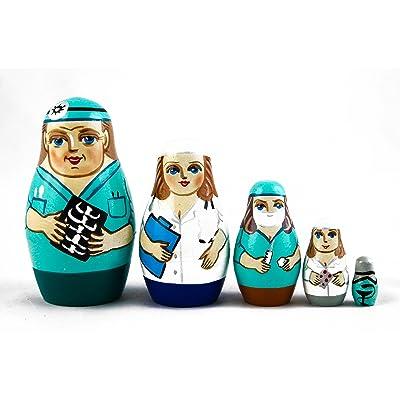 Matryoshka Matreska Babuska Russian Nesting Wooden Doll Physician Doctor Nurse Hospital Babouska Matrioska 5 Pcs Stacking Hand Painting Beautiful Nested Craft Matriosjka Matrioska: Toys & Games