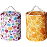 Kuber Industries Round Cloth Foldable Laundry Basket Bag Set of 2 Pcs, Volume:-30L,Multi Color