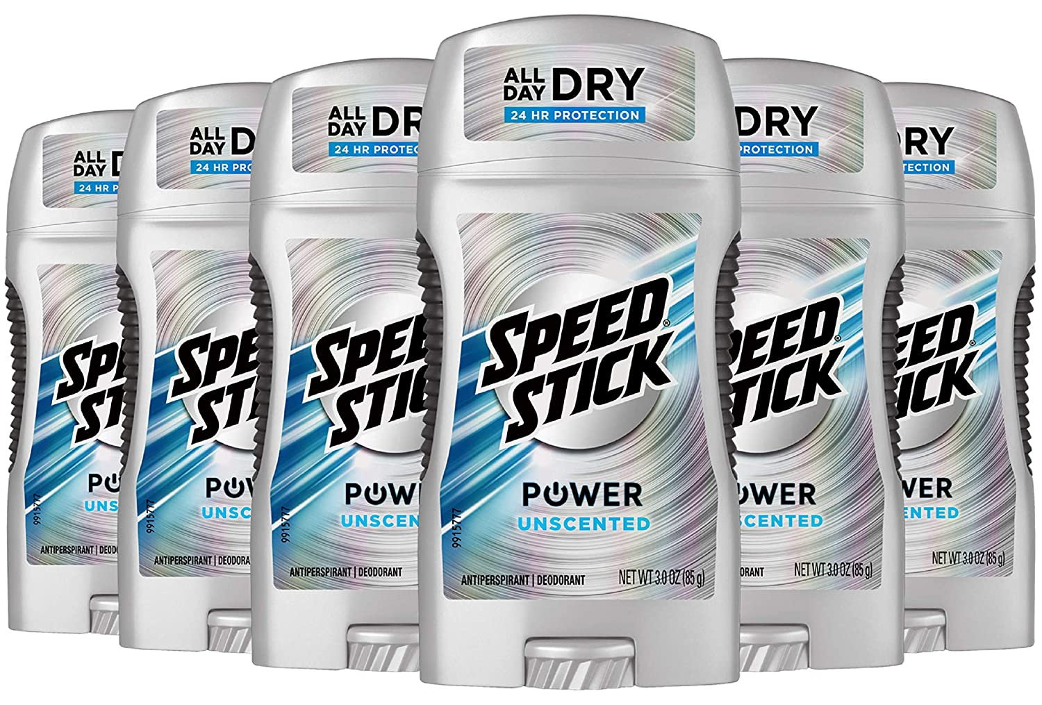 Speed Stick Power Antiperspirant Deodorant for Men, Unscented - 3 Ounce (Pack of 6)