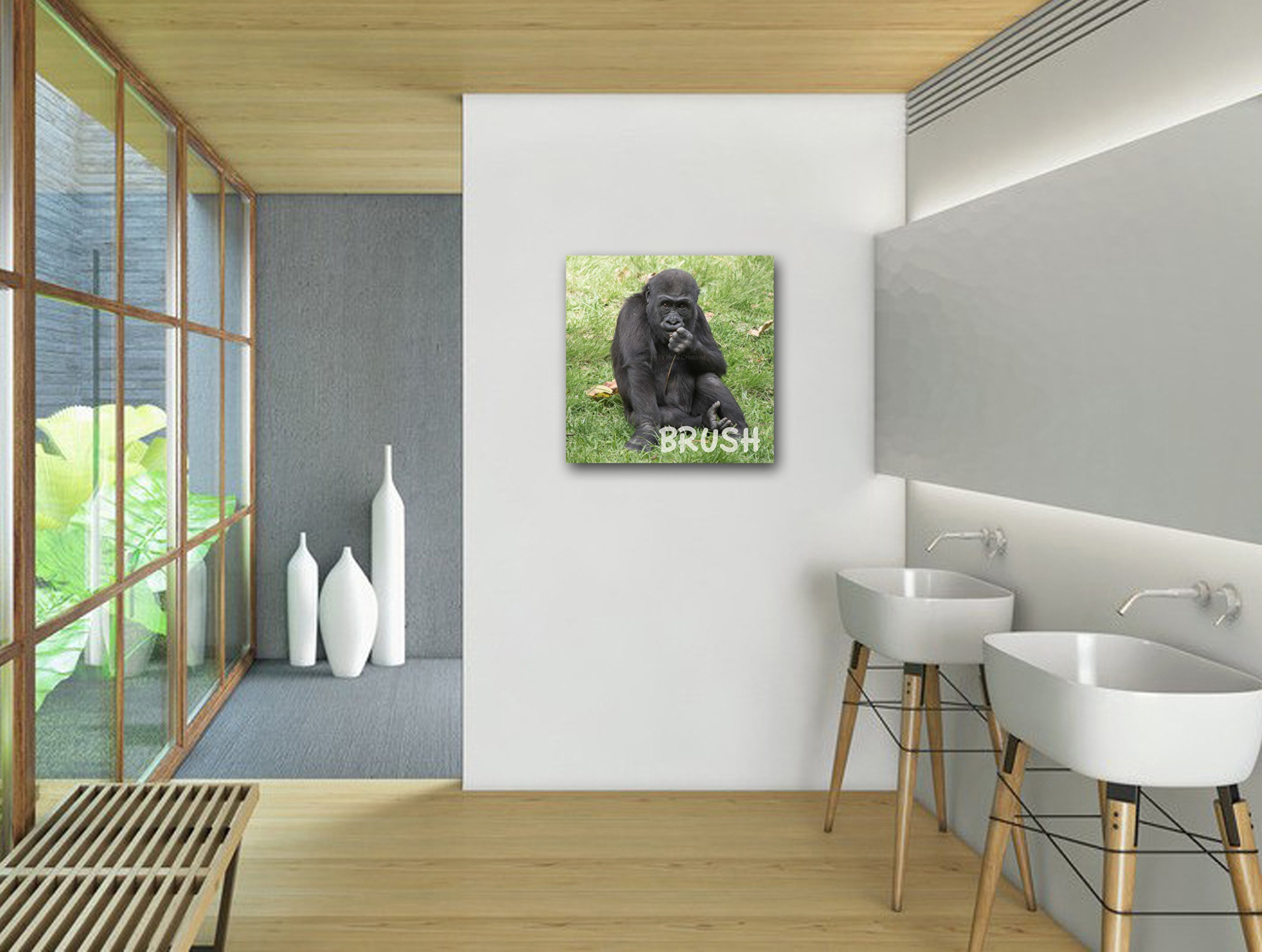 Bathroom Art Set of 3 Baby Animal Prints on CANVAS Cute Gorilla Photo Brush Your Teeth Funny Children's Wall Decor New Parent Photography Gift Ready to Hang 10x10 12x12 16x16 20x20 24x24