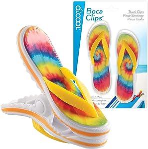 O2COOL Boca Beach Towel Clip, Tie Dye Flip Flop