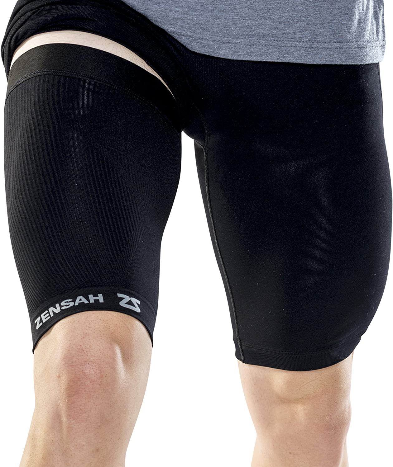 Zensah Thigh Compression Sleeve – Hamstring Support, Quad Compression Sleeve for Men and Women - Thigh Sleeve Wrap, Great for Running, Sports, Groin Pulls: Clothing