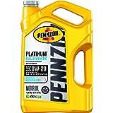 Pennzoil Platinum Full Synthetic Motor Oil (SAE, SN) 0W-20, 5 Quart - Pack of 1