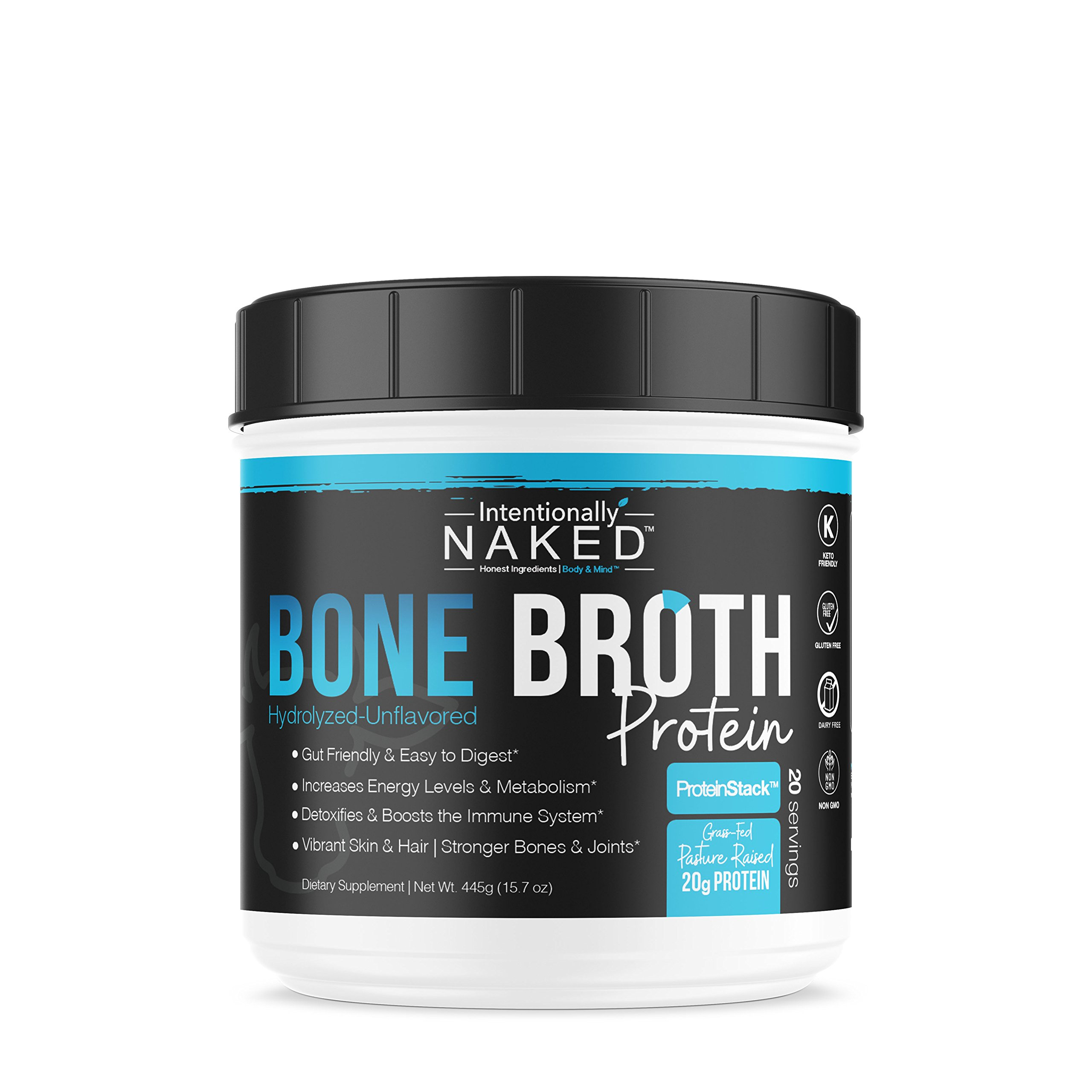 Pure Bone Broth Protein Powder - 20 Grams Protein - Supports Keto & Paleo Diets - Collagen Types 1, 2 & 3 - from Grass-Fed, Pasture Raised Cows - Dairy Free, Non-GMO - Unflavored, 20 Servings by Intentionally Bare