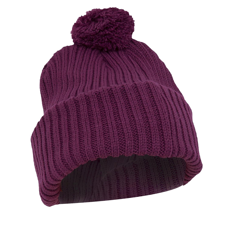 Ladies/Womens Chunky Knit Thermal Winter/Ski Hat With Pom Pom