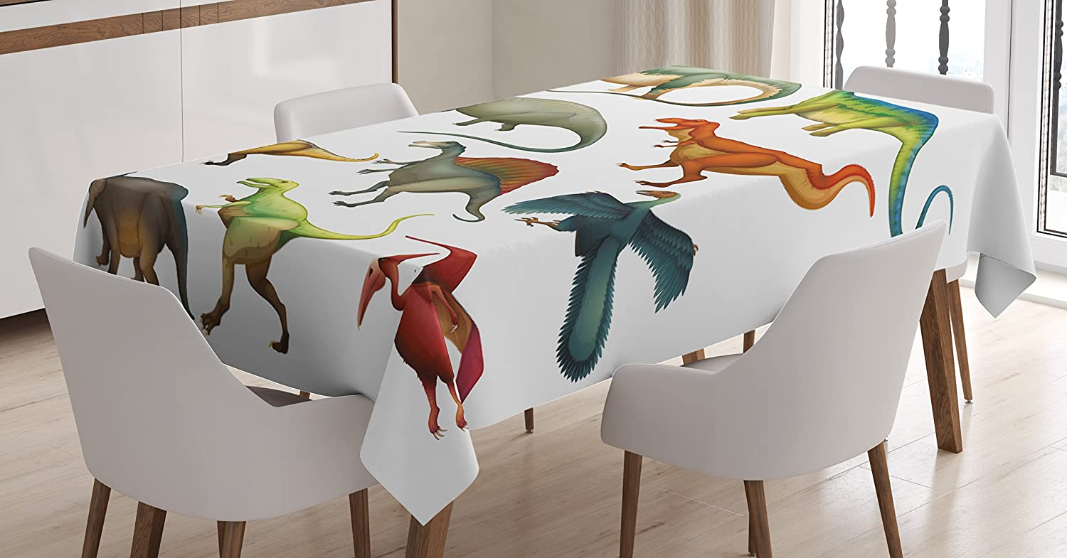 """Ambesonne Dinosaur Tablecloth, Various Different Animals from Jurassic Period Cartoon Mammals Pattern, Dining Room Kitchen Rectangular Table Cover, 52"""" X 70"""", Teal White"""