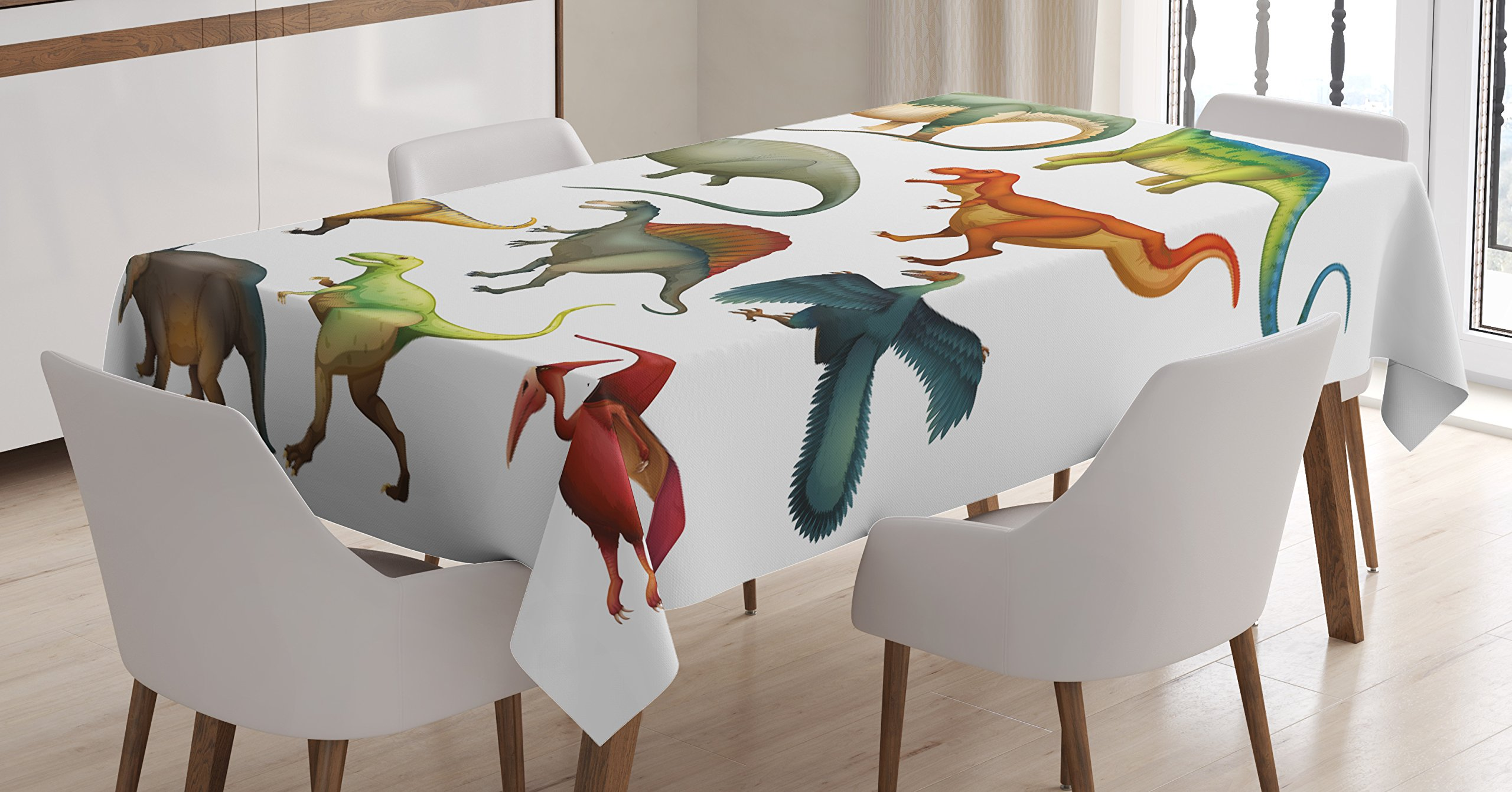 Ambesonne Dinosaur Tablecloth, Various Different Ancient Animals from Jurassic Period Cartoon Collection Mammals, Dining Room Kitchen Rectangular Table Cover, 60 W X 90 L inches, Multicolor