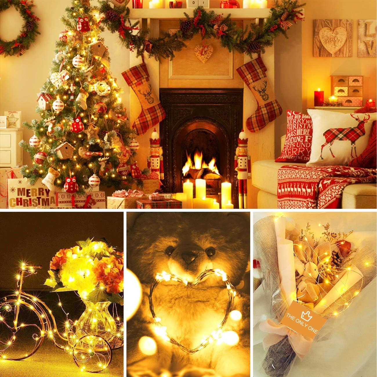 Hepside Luces LED Decoracion 12M 120 LED Guirnalda Luces Pilas 8 Modos Impermeable Luces LED Cadena Micro con Funci/ón de Temporizador para Decoraci/ón Bodas Fiesta de Navidad 2 Pack Guirnalda Luces