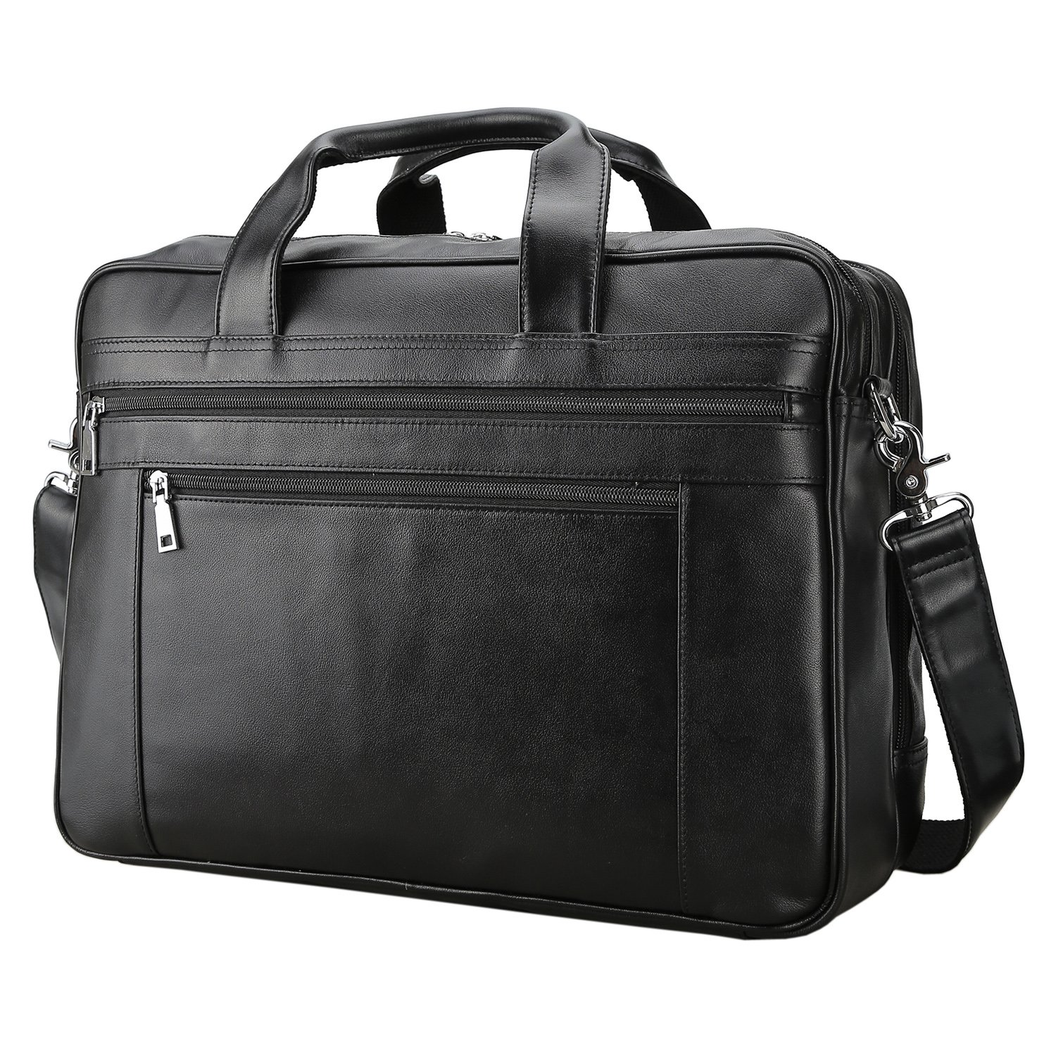 Polare Men's Real Soft Napa Leather 17'' Briefcase Laptop Business Bag Black