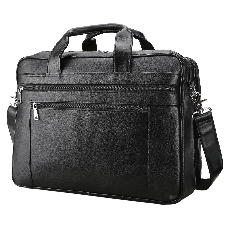 Polare Men's Real Soft Napa Leather 17'' Briefcase Laptop Business Bag Black