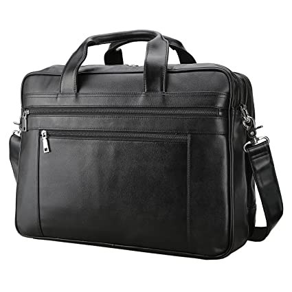 Image Unavailable. Image not available for. Color  Polare Men s Real Soft  Napa Leather 17   Briefcase Laptop Business Bag Black 7b734f41041bb