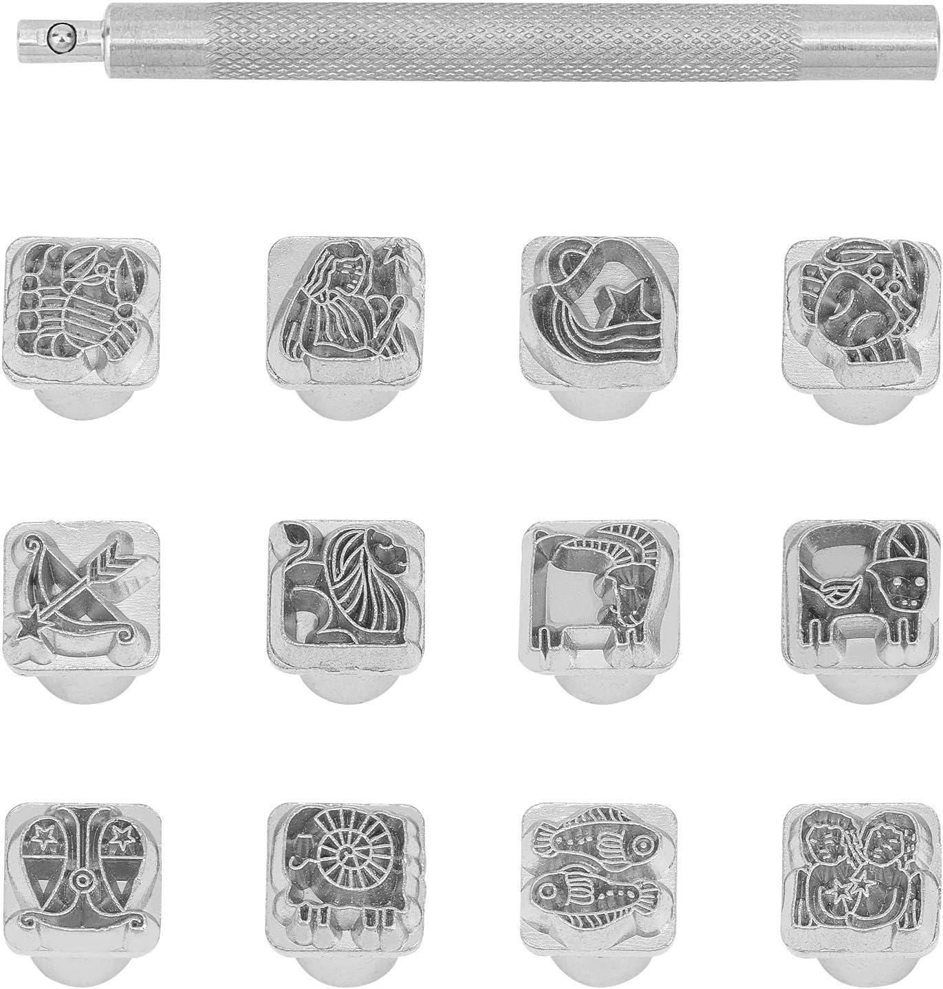 PandaHall Juego de 12 sellos de metal de 10 mm, 12 sellos de temática de constelación con 1 mango para manualidades, bolsa de cinturón, manualidades, marca de joyas, aleación de zinc