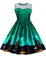 Pxmoda Women's Vintage Halloween Print Lace Panel Dress Retro Rockabilly A Line Dresses