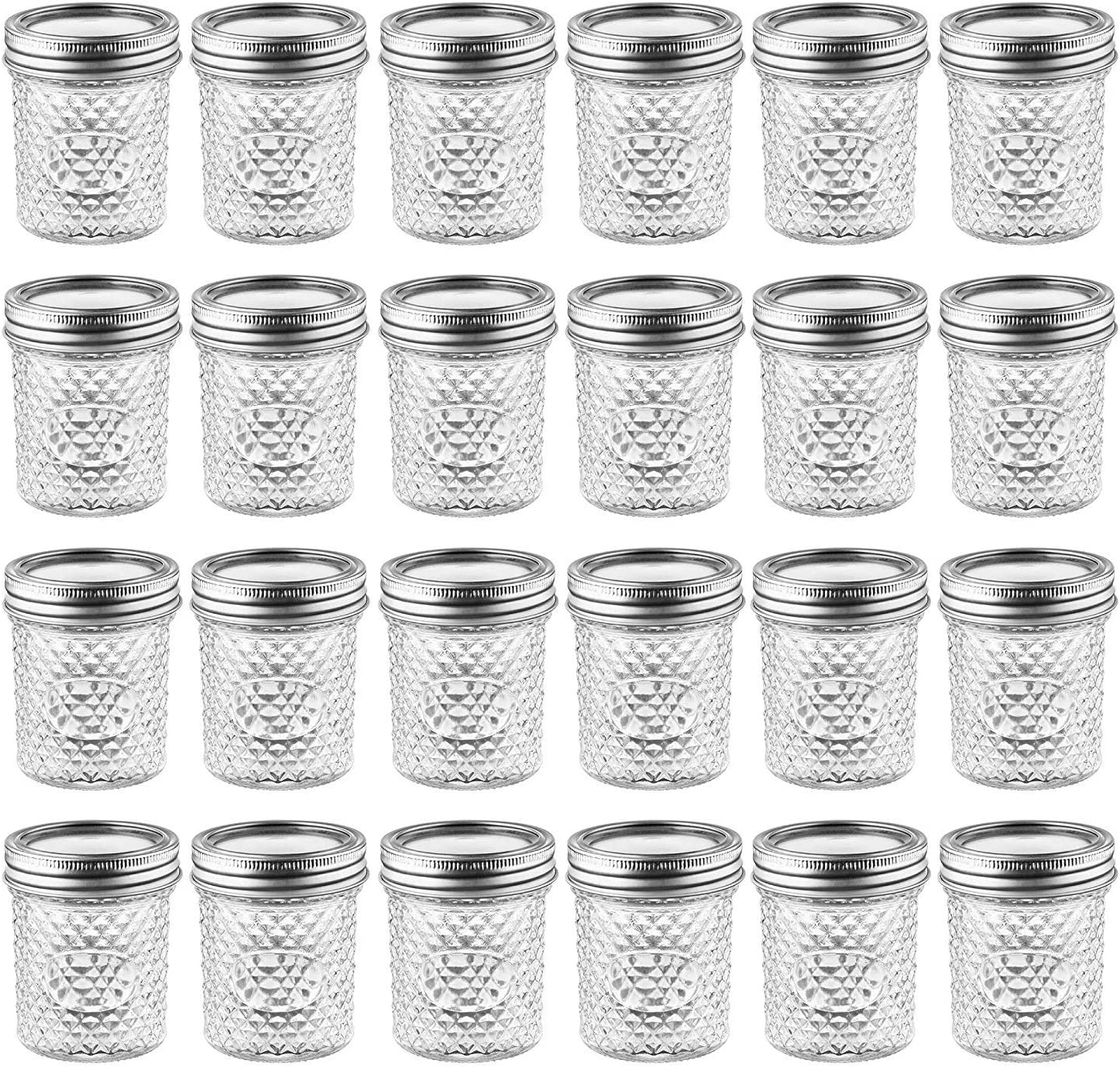 Mason Jars with Glass Lids 6 oz - Nellam Small Canning Jelly Jar Wide Mouth in Quilted Crystal for Airtight Kitchen Storage, Baby Food, Party Favors - Freezer & Microwave Safe - Set of 24, Silver