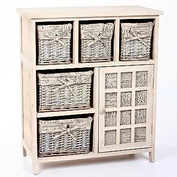 mueble de madera con cestas de mimbre puerta