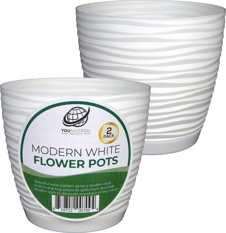 Form Plastic – Modern White Plastic Flower Pot – 2 Pack
