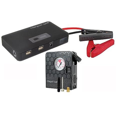 ChargeIt 70209 Jump Deluxe – Batería de coche sistema de carga con puertos USB y compresor
