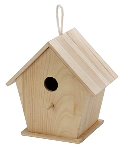 Darice Unfinished Natural Wood Decorative Birdhouse Light Wood With Hole Opening Great For Holiday And Home Decor Projects Decorate With Paint