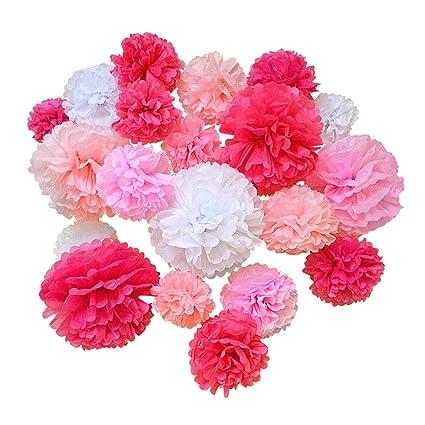 Amazon hullabaloo party 20 pcs premium tissue paper pom poms hullabaloo party 20 pcs premium tissue paper pom poms pink mix paper flowers wedding mightylinksfo