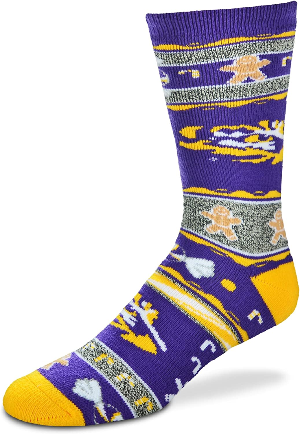 For Bare Feet NCAA Ugly Christmas Holiday Socks-LSU Tigers-Purple-Large