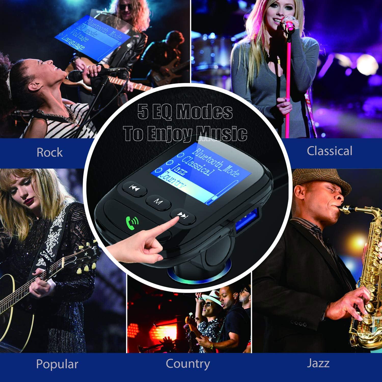 U-Disk 1,44-Zoll-Display TF-Karte 2 USB-Anschl/üsse Funkadapter Freisprech-MP3-Player Clydek QC 3.0 Bluetooth FM Transmitter AUX-Ein- // Ausgang