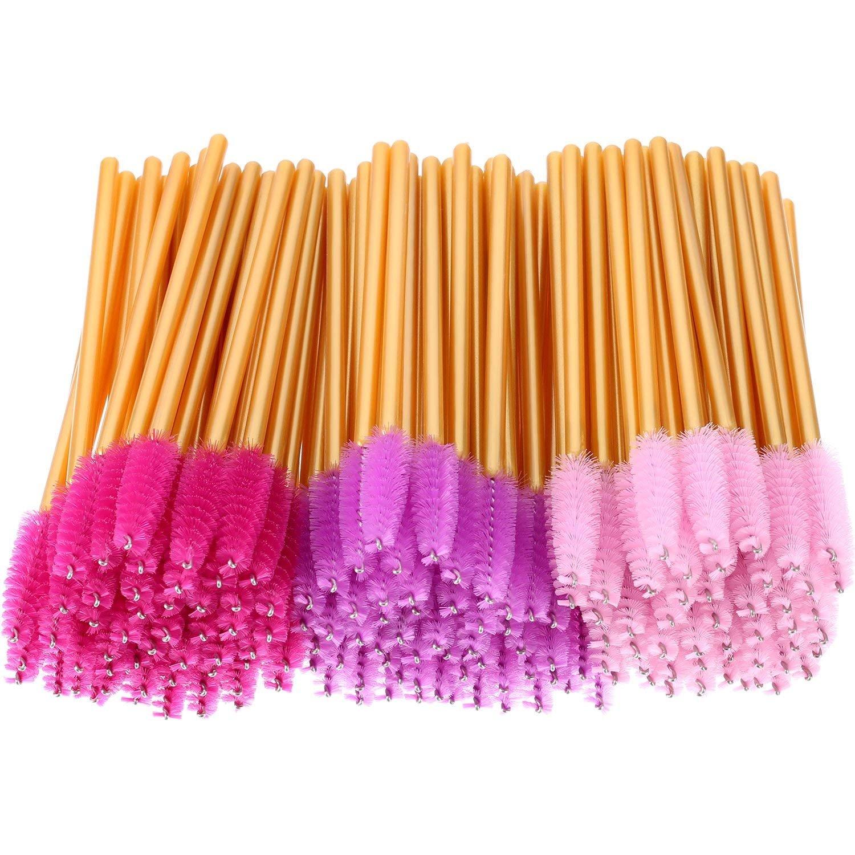 150pcs Disposable Mascara Wands Multicolor Eyelash Brush Makeup Applicators Kit, Eyelash Extension Supplies, Gold Handle, Pink, Rose, Purple Head ICYANG