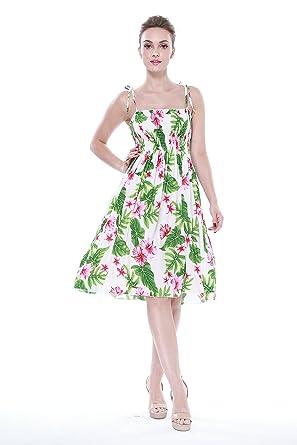 Hula Hula Batik Womens Hawaiian Elastic Strap Dress Cream With Pink and Green