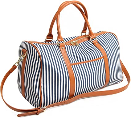 Duffle Bag, Travel Tote Women/'s Blue Striped Weekender Bag Limited Time Sale