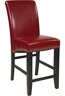 Office Star Metro Bonded Leather Parsonu0027s Counter Height Bar Stool With  Nailhead Accents, 24