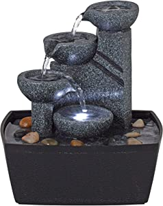 """John Timberland Rowell Tabletop Water Fountain with LED Light 7 1/2"""" High Bowls for Indoor Table Desk"""