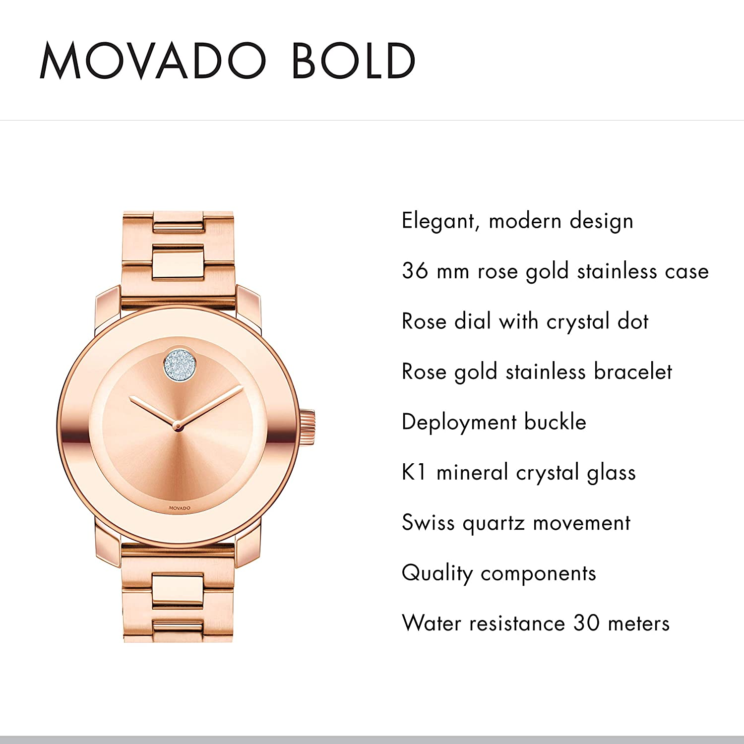 44688e0b6 Amazon.com: Movado Women's BOLD Iconic Metal Rose Gold Watch with a Flat Dot
