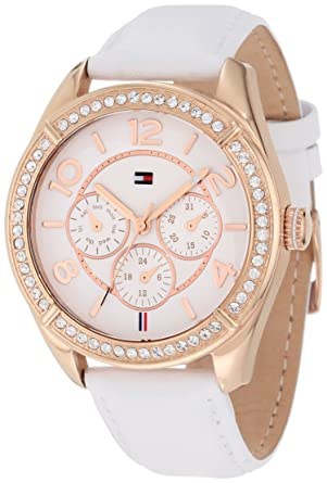 554b72569 Image Unavailable. Image not available for. Color: Tommy Hilfiger Women's  1781251 Sport Rose Gold White Leather Multi-Function Watch