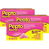 Pepto Bismol Caplets for Nausea, Heartburn, Indigestion, Upset Stomach, and Diarrhea 40 ct (Pack of 3)