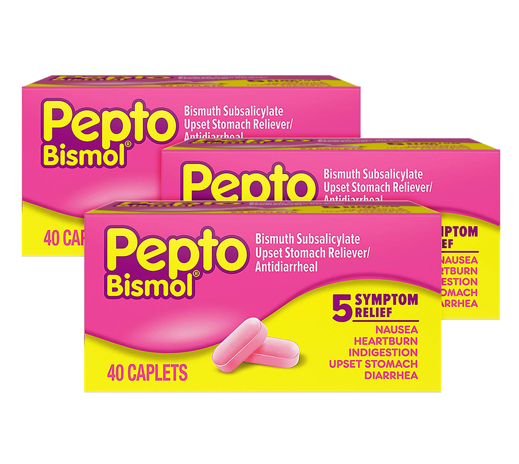 Pepto Bismol Caplets for Nausea, Heartburn, Indigestion, Upset Stomach, and Diarrhea 40 ct (Pack of 3) by Pepto Bismol