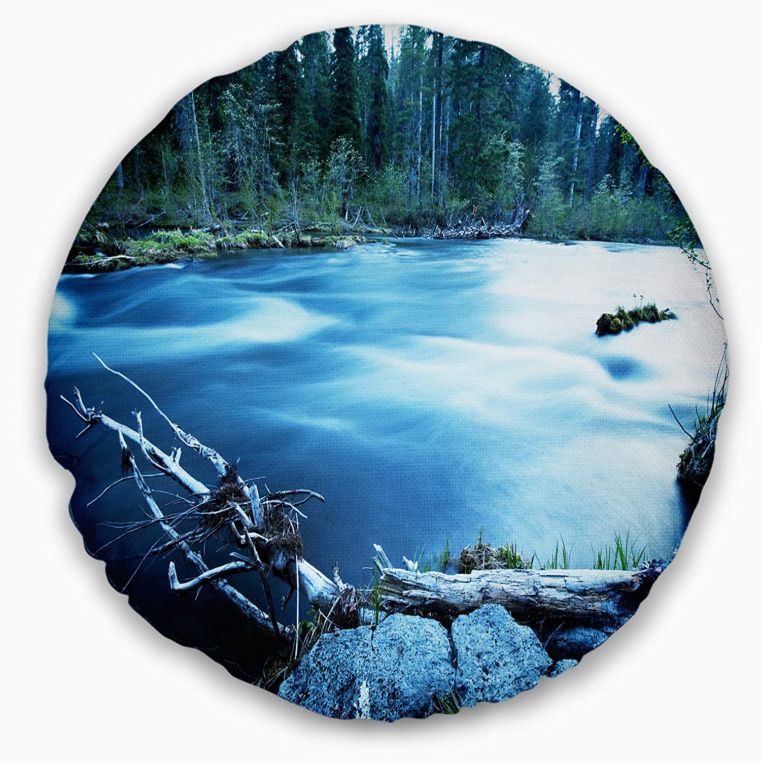 Insert Side Sofa Throw Pillow Designart CU12260-16-16-C Beautiful Blue River in Forest Landscape Printed Round Cushion Cover for Living Room 16
