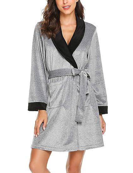 3ef98ec3a9 Ekouaer Women Soft Fleece Bathrobe Long Short Robe Lounge Soft Sleepwear  (Gray XL)