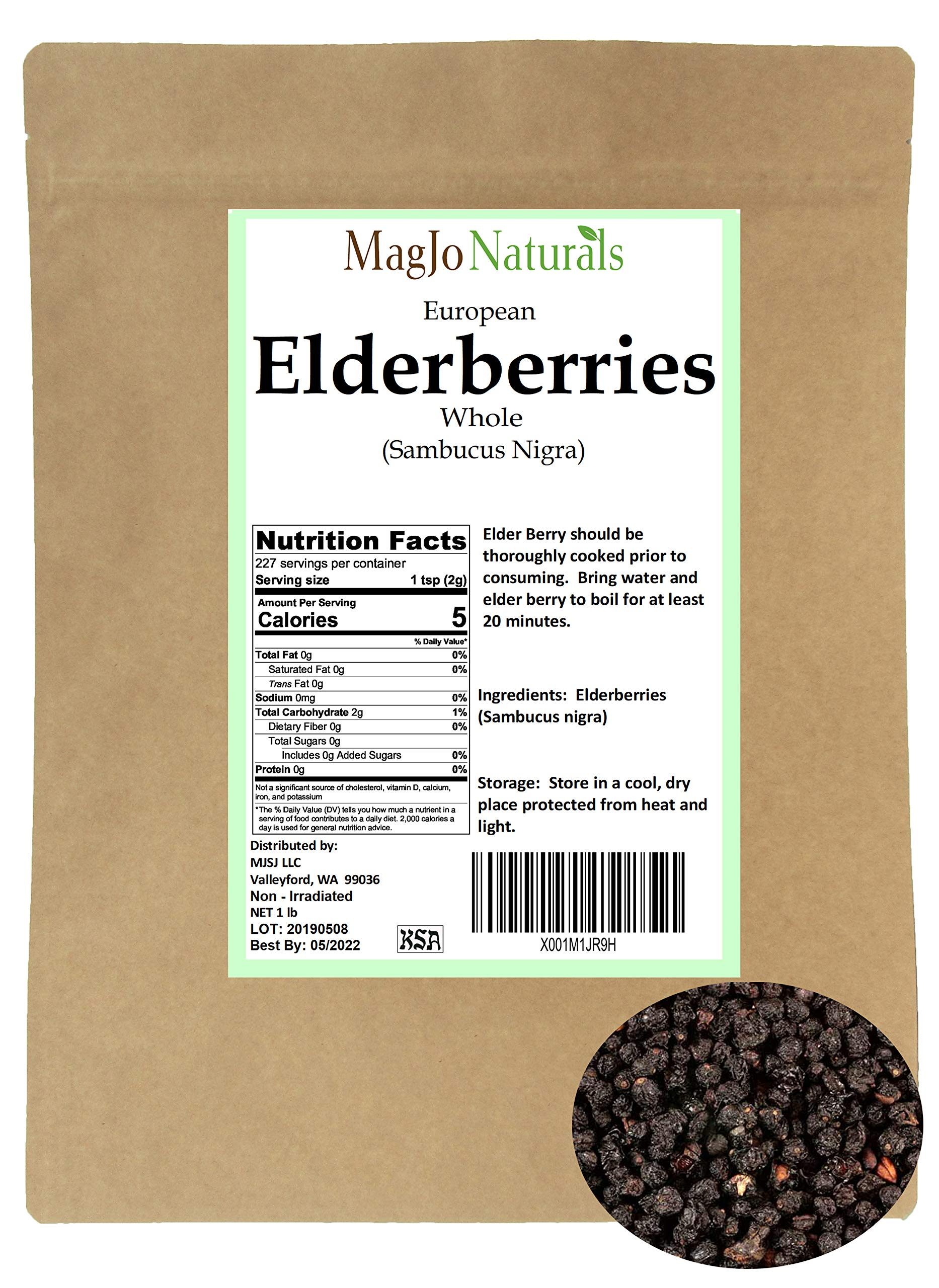 Elder Berry whole, dried (1 pound) by MagJo Naturals