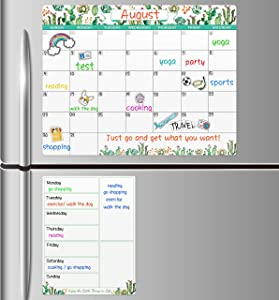 "Magnetic Dry Erase Fridge Calendar - White Board Magnetic Calendar for Refrigerator Wall Home Kitchen Decor, 15""x 11.5"", Grocery List Magnet Pad for Fridge, 9"" x 7"" Notepad Board"