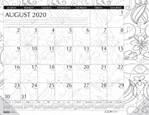 House of Doolittle 2020-2021 Monthly Desk Pad Calendar, Academic, Black and White Doodle, 18.5 x 13 Inches, August - July (HOD18765-21)