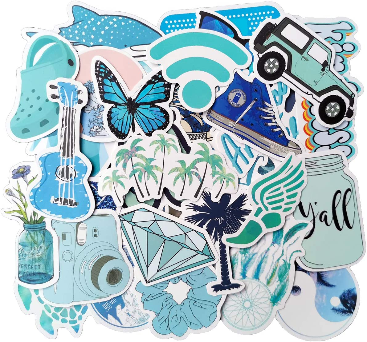 Cute Blue Stickers(50pcs), Laptop and Water Bottle Decal Sticker Pack for Men Women Teens Friends Skateboard Bike Car Luggage Vinyl Stickers Waterproof