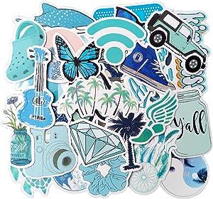 Cute Blue Stickers(50pcs), Laptop and Water Bottle Decal Sticker Pack for Men Women Teens Friends Skateboard Bike Car Luggage Vinyl Stickers Waterproof
