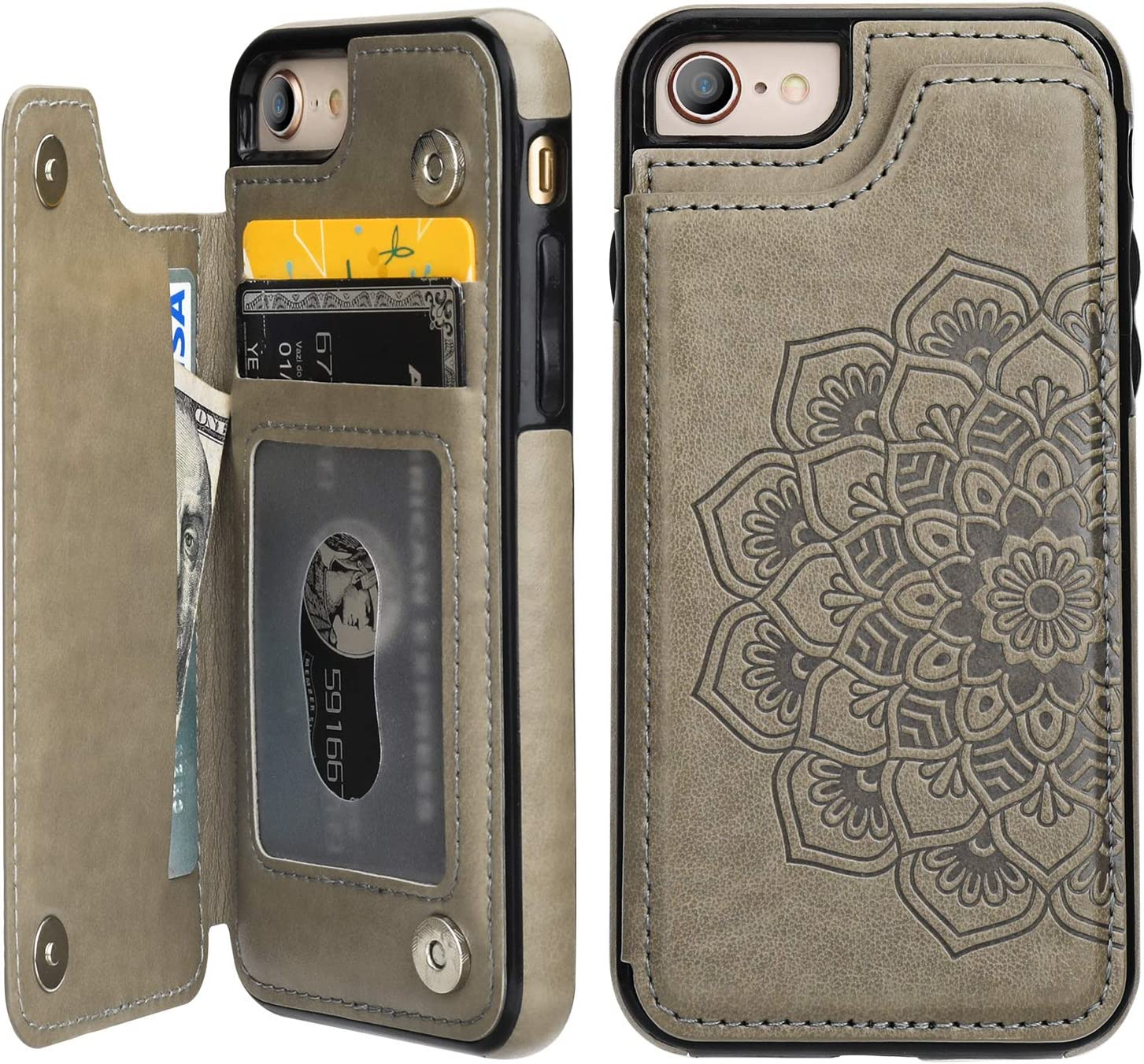 Vaburs iPhone 7 iPhone 8 iPhone SE 2020 Case Wallet with Card Holder, Embossed Mandala Pattern Flower Premium PU Leather Double Magnetic Buttons Flip Shockproof Protective Case(Gray)