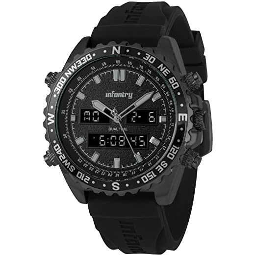 INFANTRY Big Face Mens Military Tactical Watch Black Large Sport Wrist Watches for Men